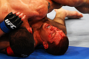ATLANTA, GA - APRIL 21:  Matt Brown (L) and Stephen Thompson grapple during their welterweight bout for UFC 145 at Philips Arena on April 21, 2012 in Atlanta, Georgia.  (Photo by Al Bello/Zuffa LLC/Zuffa LLC via Getty Images)