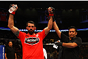 ATLANTA, GA - APRIL 21:  Matt Brown (L) celebrates defeating Stephen Thompson dy unanimous decision during their welterweight bout for UFC 145 at Philips Arena on April 21, 2012 in Atlanta, Georgia.  (Photo by Al Bello/Zuffa LLC/Zuffa LLC via Getty Images)