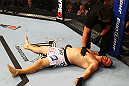 ATLANTA, GA - APRIL 21:  Chad Griggs lays on the mat after tapping out during his heavyweight bout against Travis Browne for UFC 145 at Philips Arena on April 21, 2012 in Atlanta, Georgia.  (Photo by Al Bello/Zuffa LLC/Zuffa LLC via Getty Images)
