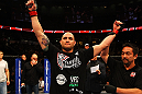 ATLANTA, GA - APRIL 21: Travis Browne celebrates defeating Chad Griggs by tap out from an arm triangle during their heavyweight bout for UFC 145 at Philips Arena on April 21, 2012 in Atlanta, Georgia. (Photo by Al Bello/Zuffa LLC/Zuffa LLC via Getty Images)