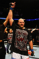 ATLANTA, GA - APRIL 21:  Ben Rothwell celebrates his TKO victory over Brendan Schaub after their heavyweight bout for UFC 145 at Philips Arena on April 21, 2012 in Atlanta, Georgia.  (Photo by Al Bello/Zuffa LLC/Zuffa LLC via Getty Images)