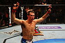 ATLANTA, GA - APRIL 21:  Rory MacDonald celebrates as he defeats Che Mills by TKO during their welterweight bout for UFC 145 at Philips Arena on April 21, 2012 in Atlanta, Georgia.  (Photo by Al Bello/Zuffa LLC/Zuffa LLC via Getty Images)