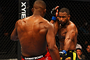 ATLANTA, GA - APRIL 21:  Jon Jones (L) kicks Rashad Evans during their light heavyweight title bout for UFC 145 at Philips Arena on April 21, 2012 in Atlanta, Georgia.  (Photo by Al Bello/Zuffa LLC/Zuffa LLC via Getty Images)