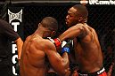 ATLANTA, GA - APRIL 21:  Jon Jones (R) punches Rashad Evans during their light heavyweight title bout for UFC 145 at Philips Arena on April 21, 2012 in Atlanta, Georgia.  (Photo by Al Bello/Zuffa LLC/Zuffa LLC via Getty Images)