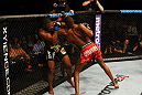 ATLANTA, GA - APRIL 21:  Jon Jones (R) elbows Rashad Evans during their light heavyweight title bout for UFC 145 at Philips Arena on April 21, 2012 in Atlanta, Georgia.  (Photo by Al Bello/Zuffa LLC/Zuffa LLC via Getty Images)