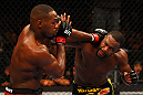 ATLANTA, GA - APRIL 21:  Rashad Evans (R) and Jon Jones exchange blows during their light heavyweight title bout for UFC 145 at Philips Arena on April 21, 2012 in Atlanta, Georgia.  (Photo by Al Bello/Zuffa LLC/Zuffa LLC via Getty Images)