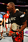 ATLANTA, GA - APRIL 21:  Jon Jones celebrates defeating Rashad Evans by unanimous decision in their light heavyweight title bout for UFC 145 at Philips Arena on April 21, 2012 in Atlanta, Georgia.  (Photo by Al Bello/Zuffa LLC/Zuffa LLC via Getty Images)