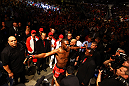 ATLANTA, GA - APRIL 21:  Jon Jones prepares for his light heavyweight title bout against Rashad Evans for UFC 145 at Philips Arena on April 21, 2012 in Atlanta, Georgia.  (Photo by Al Bello/Zuffa LLC/Zuffa LLC via Getty Images)