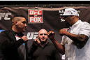 NEW YORK, NY - MAY 03:  (L-R) Heavyweight opponents Pat Barry and Lavar Johnson face off during the UFC on FOX pre-fight press conference at Beacon Theatre on May 3, 2012 in New York City.  (Photo by Josh Hedges/Zuffa LLC/Zuffa LLC via Getty Images)