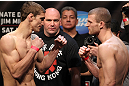 EAST RUTHERFORD, NJ - MAY 04:  (L-R) Welterweight opponents John Hathaway and Pascal Krauss face off after weighing in during the UFC on FOX official weigh in at Izod Center on May 4, 2012 in East Rutherford, New Jersey.  (Photo by Josh Hedges/Zuffa LLC/Zuffa LLC via Getty Images)
