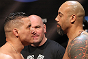 EAST RUTHERFORD, NJ - MAY 04:  (L-R) Heavyweight opponents Pat Barry and Lavar Johnson face off after weighing in during the UFC on FOX official weigh in at Izod Center on May 4, 2012 in East Rutherford, New Jersey.  (Photo by Josh Hedges/Zuffa LLC/Zuffa LLC via Getty Images)