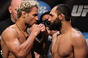 EAST RUTHERFORD, NJ - MAY 04:  (L-R) Welterweight opponents Josh Koscheck and Johny Hendricks face off after weighing in during the UFC on FOX official weigh in at Izod Center on May 4, 2012 in East Rutherford, New Jersey.  (Photo by Josh Hedges/Zuffa LLC/Zuffa LLC via Getty Images)