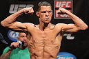 EAST RUTHERFORD, NJ - MAY 04:  Nate Diaz weighs in during the UFC on FOX official weigh in at Izod Center on May 4, 2012 in East Rutherford, New Jersey.  (Photo by Josh Hedges/Zuffa LLC/Zuffa LLC via Getty Images)