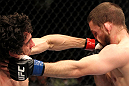 EAST RUTHERFORD, NJ - MAY 05:  Roland Delorme (L) punches Nick Denis (R) during thier Bantamweight bout at Izod Center on May 5, 2012 in East Rutherford, New Jersey.  (Photo by Josh Hedges/Zuffa LLC/Zuffa LLC via Getty Images)