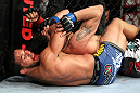 EAST RUTHERFORD, NJ - MAY 05:  Dennis Bermudez chokes Pablo Garza during thier Bantamweight bout at Izod Center on May 5, 2012 in East Rutherford, New Jersey.  (Photo by Josh Hedges/Zuffa LLC/Zuffa LLC via Getty Images)