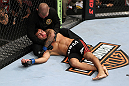 EAST RUTHERFORD, NJ - MAY 05: John Lineker gets assisted after being choked out by Louis Gaudinot during thier Flyweight bout at Izod Center on May 5, 2012 in East Rutherford, New Jersey.  (Photo by Josh Hedges/Zuffa LLC/Zuffa LLC via Getty Images)