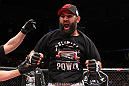 EAST RUTHERFORD, NJ - MAY 05:  Johny Hendricks celebrates after defeating Josh Koscheck in thier Welterweight bout at Izod Center on May 5, 2012 in East Rutherford, New Jersey.  (Photo by Josh Hedges/Zuffa LLC/Zuffa LLC via Getty Images)