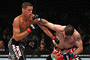 EAST RUTHERFORD, NJ - MAY 05:  Nate Diaz (L) punches Jim Miller (R) during thier Lightweight bout at Izod Center on May 5, 2012 in East Rutherford, New Jersey.  (Photo by Josh Hedges/Zuffa LLC/Zuffa LLC via Getty Images)