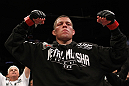 EAST RUTHERFORD, NJ - MAY 05:  Nate Diaz celebrates after defeating Jim Miller in thier Lightweight bout at Izod Center on May 5, 2012 in East Rutherford, New Jersey.  (Photo by Josh Hedges/Zuffa LLC/Zuffa LLC via Getty Images)