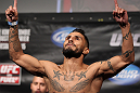 FAIRFAX, VA - MAY 14:  Francisco Rivera makes weight during the UFC on Fuel TV official weigh in at Patriot Center on May 14, 2012 in Fairfax, Virginia.  (Photo by Josh Hedges/Zuffa LLC/Zuffa LLC via Getty Images)