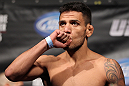 FAIRFAX, VA - MAY 14:  Rafael Dos Anjos makes weight during the UFC on Fuel TV official weigh in at Patriot Center on May 14, 2012 in Fairfax, Virginia.  (Photo by Josh Hedges/Zuffa LLC/Zuffa LLC via Getty Images)