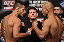 FAIRFAX, VA - MAY 14:  (L-R) Lightweight opponents Rafael Dos Anjos and Kamal Shalorus face off after weighing in during the UFC on Fuel TV official weigh in at Patriot Center on May 14, 2012 in Fairfax, Virginia.  (Photo by Josh Hedges/Zuffa LLC/Zuffa LLC via Getty Images)