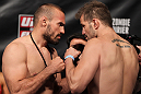 FAIRFAX, VA - MAY 14:  (L-R) Light Heavyweight opponents Igor Pokrajac and Fabio Maldonado face off after weighing in during the UFC on Fuel TV official weigh in at Patriot Center on May 14, 2012 in Fairfax, Virginia.  (Photo by Josh Hedges/Zuffa LLC/Zuffa LLC via Getty Images)