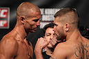 "FAIRFAX, VA - MAY 14:  (L-R) Lightweight opponents Donald ""Cowboy"" Cerrone and Jeremy Stephens face off after weighing in during the UFC on Fuel TV official weigh in at Patriot Center on May 14, 2012 in Fairfax, Virginia.  (Photo by Josh Hedges/Zuffa LLC/Zuffa LLC via Getty Images)"