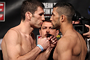 FAIRFAX, VA - MAY 14:  (L-R) Opponents Amir Sodollah and Jorge Lopez face off after weighing in during the UFC on Fuel TV official weigh in at Patriot Center on May 14, 2012 in Fairfax, Virginia.  (Photo by Josh Hedges/Zuffa LLC/Zuffa LLC via Getty Images)