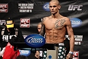 FAIRFAX, VA - MAY 14:  Dustin Poirier makes weight during the UFC on Fuel TV official weigh in at Patriot Center on May 14, 2012 in Fairfax, Virginia.  (Photo by Josh Hedges/Zuffa LLC/Zuffa LLC via Getty Images)