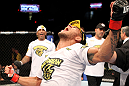 FAIRFAX, VA - MAY 15:  Rafael Dos Anjos reacts after defeating Kamal Shalorus in a lightweight bout during the UFC on Fuel TV event at Patriot Center on May 15, 2012 in Fairfax, Virginia.  (Photo by Josh Hedges/Zuffa LLC/Zuffa LLC via Getty Images)