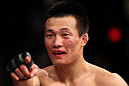 "FAIRFAX, VA - MAY 15:  ""The Korean Zombie"" Chan Sung Jung reacts after defeating Dustin Poirier in a featherweight bout during the UFC on Fuel TV event at Patriot Center on May 15, 2012 in Fairfax, Virginia.  (Photo by Josh Hedges/Zuffa LLC/Zuffa LLC via Getty Images)"