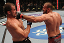 FAIRFAX, VA - MAY 15:  (R-L) Igor Pokrajac punches Fabio Maldonado in a light heavyweight bout during the UFC on Fuel TV event at Patriot Center on May 15, 2012 in Fairfax, Virginia.  (Photo by Josh Hedges/Zuffa LLC/Zuffa LLC via Getty Images)