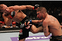 FAIRFAX, VA - MAY 15:  (L-R) Donald &quot;Cowboy&quot; Cerrone kicks Jeremy Stephens in a lightweight bout during the UFC on Fuel TV event at Patriot Center on May 15, 2012 in Fairfax, Virginia.  (Photo by Josh Hedges/Zuffa LLC/Zuffa LLC via Getty Images)