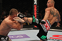 FAIRFAX, VA - MAY 15:  (R-L) Donald &quot;Cowboy&quot; Cerrone kicks Jeremy Stephens in a lightweight bout during the UFC on Fuel TV event at Patriot Center on May 15, 2012 in Fairfax, Virginia.  (Photo by Josh Hedges/Zuffa LLC/Zuffa LLC via Getty Images)