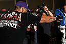 "LAS VEGAS, NV - MAY 23:   Antonio ""Big Foot"" Silva works out for the media and fans during the UFC 146 Open Workouts at MGM Grand on May 23, 2012 in Las Vegas, Nevada.  (Photo by Josh Hedges/Zuffa LLC/Zuffa LLC via Getty Images)"