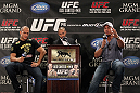 LAS VEGAS, NV - MAY 24:   UFC Heavyweight Champion Junior dos Santos (L) and opponent Frank Mir (R) attend the UFC 146 press conference hosted by Jon Anik (center) at MGM Grand on May 24, 2012 in Las Vegas, Nevada.  (Photo by Josh Hedges/Zuffa LLC/Zuffa LLC via Getty Images)