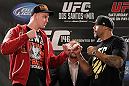LAS VEGAS, NV - MAY 24:   (L-R) Opponents Stefan Struve and Lavar Johnson face off during the UFC 146 press conference at MGM Grand on May 24, 2012 in Las Vegas, Nevada.  (Photo by Josh Hedges/Zuffa LLC/Zuffa LLC via Getty Images)