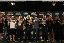 LAS VEGAS, NV - MAY 24:   All ten of the UFC heavyweight fighters from the main card of UFC 146 pose for photos during press conference at MGM Grand on May 24, 2012 in Las Vegas, Nevada.  (Photo by Josh Hedges/Zuffa LLC/Zuffa LLC via Getty Images)