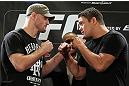LAS VEGAS, NV - MAY 24:   (L-R) Opponents Stipe Miocic and Shane Del Rosario face off during the UFC 146 press conference at MGM Grand on May 24, 2012 in Las Vegas, Nevada.  (Photo by Josh Hedges/Zuffa LLC/Zuffa LLC via Getty Images)