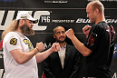 LAS VEGAS, NV - MAY 24:  (L-R) Opponents Roy Nelson and Dave Herman face off during the UFC 146 press conference at MGM Grand on May 24, 2012 in Las Vegas, Nevada.  (Photo by Josh Hedges/Zuffa LLC/Zuffa LLC via Getty Images)