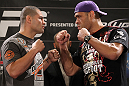 LAS VEGAS, NV - MAY 24:   (L-R) Opponents Cain Velasquez and Antonio &quot;Big Foot&quot; Silva face off during the UFC 146 press conference at MGM Grand on May 24, 2012 in Las Vegas, Nevada.  (Photo by Josh Hedges/Zuffa LLC/Zuffa LLC via Getty Images)