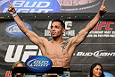 LAS VEGAS, NV - MAY 25:   Daniel Pineda makes weight during the UFC 146 official weigh in at the MGM Grand Garden Arena on May 25, 2012 in Las Vegas, Nevada.  (Photo by Josh Hedges/Zuffa LLC/Zuffa LLC via Getty Images)