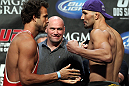 LAS VEGAS, NV - MAY 25:   (L-R) Opponents Kyle Kingsbury and Glover Texeira face off after making weight during the UFC 146 official weigh in at the MGM Grand Garden Arena on May 25, 2012 in Las Vegas, Nevada.  (Photo by Josh Hedges/Zuffa LLC/Zuffa LLC via Getty Images)