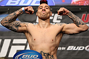 LAS VEGAS, NV - MAY 25:   Dan Hardy makes weight during the UFC 146 official weigh in at the MGM Grand Garden Arena on May 25, 2012 in Las Vegas, Nevada.  (Photo by Josh Hedges/Zuffa LLC/Zuffa LLC via Getty Images)