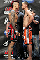 LAS VEGAS, NV - MAY 25:   (L-R) Opponents Dan Hardy and Duane Ludwig face off after making weight during the UFC 146 official weigh in at the MGM Grand Garden Arena on May 25, 2012 in Las Vegas, Nevada.  (Photo by Josh Hedges/Zuffa LLC/Zuffa LLC via Getty Images)