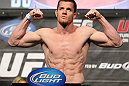LAS VEGAS, NV - MAY 25:   CB Dollaway makes weight during the UFC 146 official weigh in at the MGM Grand Garden Arena on May 25, 2012 in Las Vegas, Nevada.  (Photo by Josh Hedges/Zuffa LLC/Zuffa LLC via Getty Images)