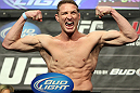 "LAS VEGAS, NV - MAY 25:   Jason ""Mayhem"" Miller makes weight during the UFC 146 official weigh in at the MGM Grand Garden Arena on May 25, 2012 in Las Vegas, Nevada.  (Photo by Josh Hedges/Zuffa LLC/Zuffa LLC via Getty Images)"