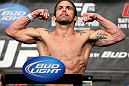 LAS VEGAS, NV - MAY 25:  Jamie Varner makes weight during the UFC 146 official weigh in at the MGM Grand Garden Arena on May 25, 2012 in Las Vegas, Nevada.  (Photo by Josh Hedges/Zuffa LLC/Zuffa LLC via Getty Images)