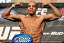LAS VEGAS, NV - MAY 25:   Edson Barboza makes weight during the UFC 146 official weigh in at the MGM Grand Garden Arena on May 25, 2012 in Las Vegas, Nevada.  (Photo by Josh Hedges/Zuffa LLC/Zuffa LLC via Getty Images)